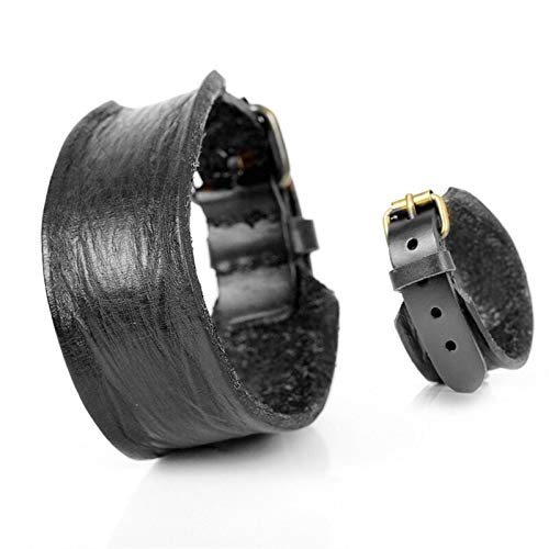 Personalised Fashion Simple Genuine Leather Men's Bracelets Popular Soft Knight Courage Bandage Wrap Charm Bracelets for Men (Metal Color : Black)