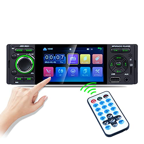 1 Din Autoradio MP5 stereo, touch screen da 4,1 pollici, USB, 1080P video, Mirror Link, Bluetooth, AUX, FM