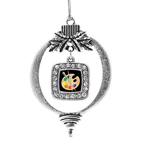Inspired Silver - The Artist Charm Ornament - Silver Square Charm Holiday Ornaments with Cubic Zirconia Jewelry