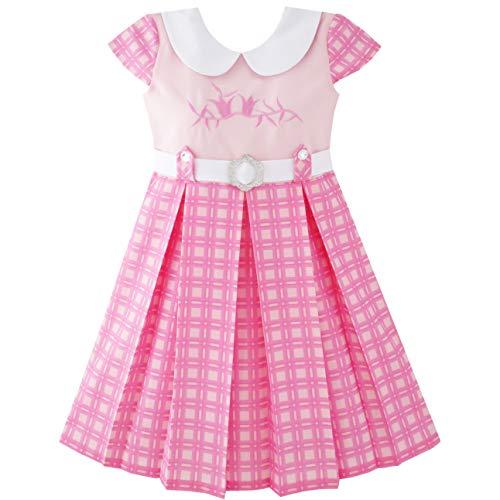 Sunny Fashion JY31 Girls Dress Pink Belted School Pleated Hem Size 4