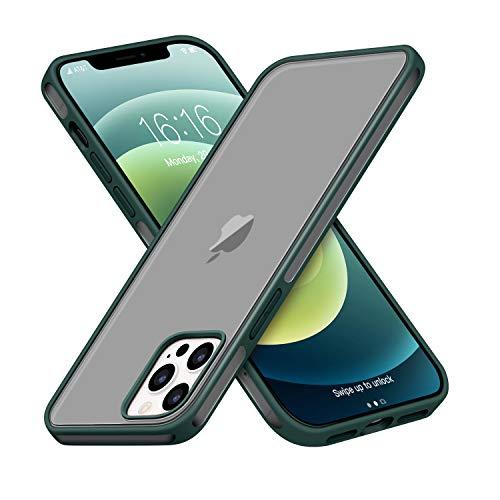 GOODVISH Cover Opaca Traslucida Compatibile con iPhone 12/12 PRO, Rigida Antiurto PC Custodia con Bottone in Silicone Morbido, Protettiva Slim Fit Cover per iPhone 12/12 PRO 6.1',Verde