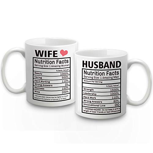 Husband and Wife Nutrition Facts Mugs Husband and Wife Gifts Couple Coffee Mugs Gifts for Husband Wife Wedding Gifts Engagement Wedding Anniversary Valentines Day Gifts for Couple 11 Ounce