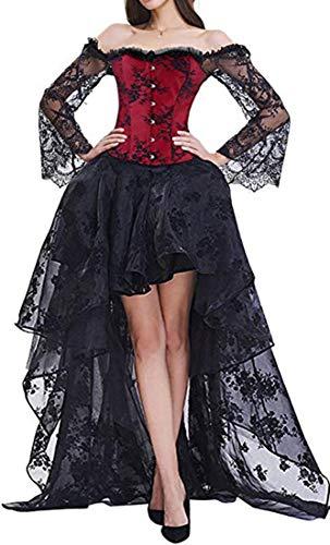 EUDOLAH Damen Schwarz Korsagen Gothic Taille Korset Lang Hauch Bluse Mini Korsett kurz Party Steampunk inkl. und Korsett Top (Small, 11708 Schwarz und Rot)