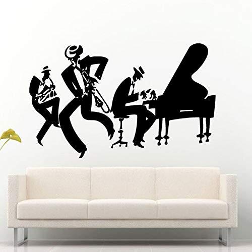 Vcnhln Pegatinas de Pared de Vinilo saxofón de Jazz saxofón Instrumento género Musical Hombres Tatuajes de Pared decoración de la habitación de música Pegatinas de pared42x94cm