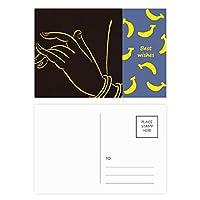 仏教の宗教のブラック・イエロー・ハンド バナナのポストカードセットサンクスカード郵送側20個
