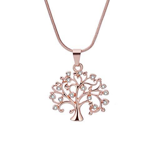 Ouran - Collana con ciondolo a forma di albero della vita, da donna, in oro o argento, con cristalli di zirconia cubica, per donna o ragazza e Oro rosa, cod. XL-0136