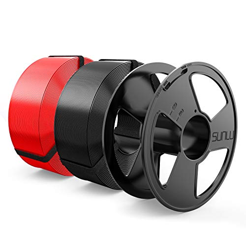 3D Printer Filament, PLA 1.75mm Master Spool, SUNLU PLA 3D Filament, Dimensional Accuracy + - 0.02 mm, Black+Red, 2KG
