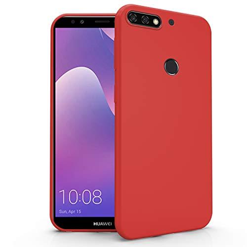 N NEWTOP Funda compatible para Huawei Y7 2018/Nova Lite Plus, funda de TPU suave gel silicona ultra fina flexible carcasa trasera protectora (rojo)