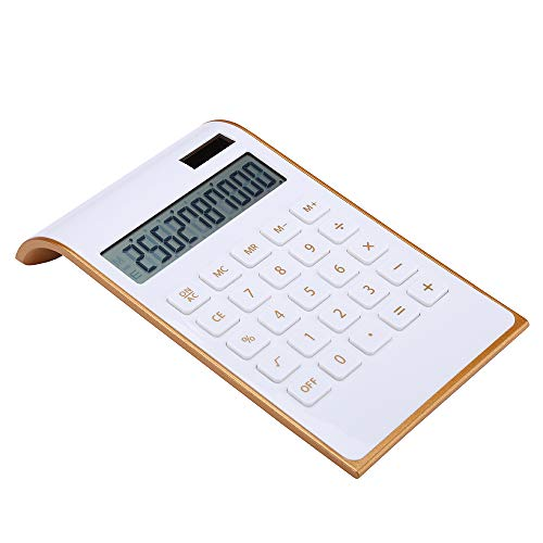 【 letitfly 】 Taschenrechner, Office/Home Electronics, Dual-Powered Desktop Taschenrechner, solar power, neigbar LCD-Display, geneigt design, schwarz Slim2 weiß