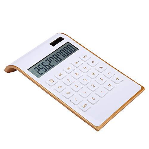 Calculator, Slim Elegant Design, Office/Home Electronics, Dual Powered Desktop Calculator, Solar Power, 10 Digits, Tilted LCD Display, Inclined Design, White (Slim2)