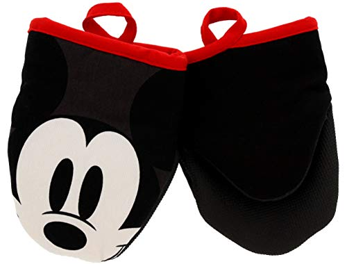 """Best Brands Disney Kitchen Cotton Mini Oven Mitts/Glove Set w/Neoprene Insulation for Easy Gripping While Cooking, Heat Resistant Kitchen Accessories, 5"""" x 6.5"""", Sneaky Mickey, 2pk"""