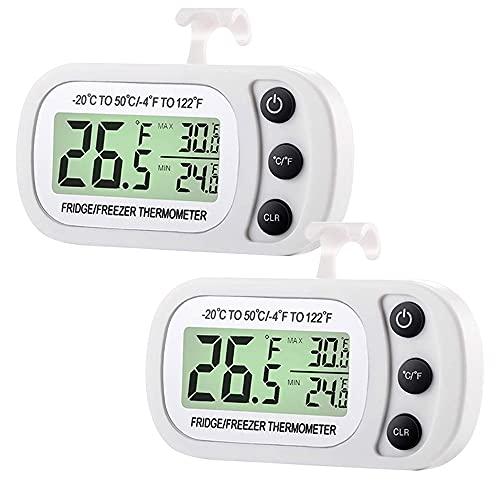 Komake Termómetro para Frigorífico, Termómetro Digital Frigorífico,Impermeable Termómetro para Congelador, Monitor de Temperatura, Pantalla LCD Fácil de Leer con Gancho, 2 Pack, Blanco