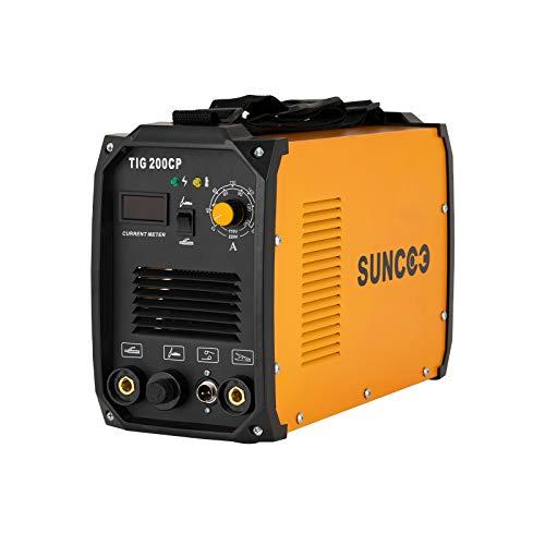 SUNCOO TIG Welder, 200 Amp TIG&MMA/STICK/ARC Welding Machine Inverter DC TIG-200CP HF 110/220V Dual Voltage with LED Digital Display, Brush, Orange