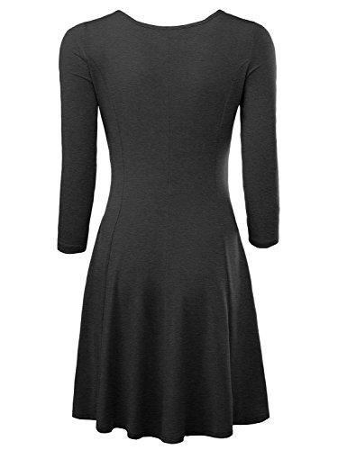 BaiShengGT BAISHENGGT Damen Skaterkleid Rundhals 3/4-Arm Fattern Stretch Basic Kleider Dunkelgrau M