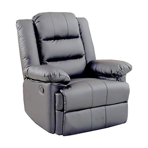 Loxley Leather Recliner Armchair Sofa Home Lounge Chair Reclining Gaming (Grey)