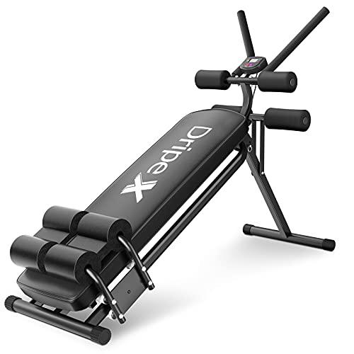 Dripex Bauchtrainer Klappbares AB Trainer, 3-Fach Verstellbar, Sit up Bank mit Trainingscomputer, Fitnessgeräte Bauch Beine Po für Zuhause