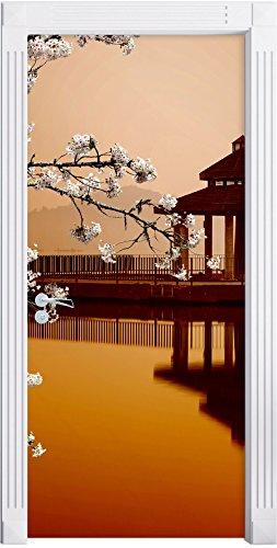 Stil.Zeit Möbel Kirschbaum an Japanischem See als Türtapete, Format: 200x90cm, Türbild, Türaufkleber, Tür Deko, Türsticker