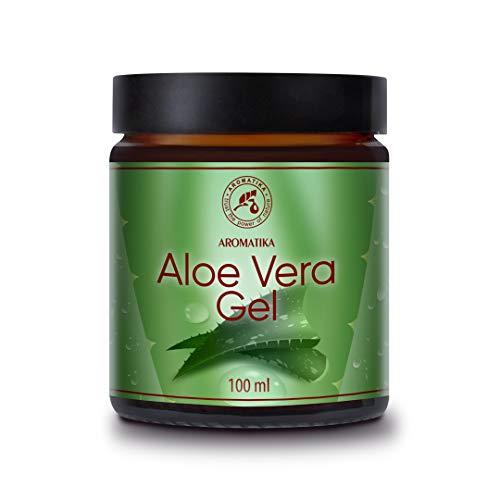Gel Aloe Vera 100ml - Brésil - 100% Naturel - Rafraîchissant Apaisant Hydratant pour Tous les Types de Peau - Cheveux tous Types - Soin du Visage et du Corps - Soin des Coups de Soleil - Massage