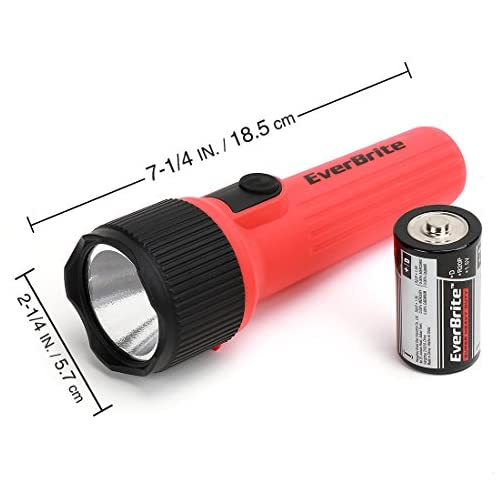 EverBrite LED Flashlight 2-Pack, Plastic Handheld Torch Light, Red/Green Hurricane Supplies, 2 D Battery Included 4