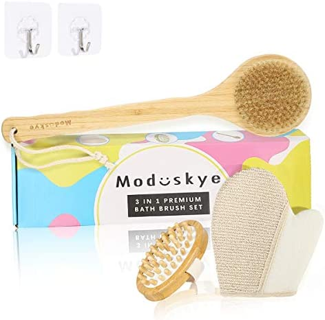 Wooden Shower Brush Moduskye Back Brush with Long Handle Back Scrubber for Wet Dry Brushing product image