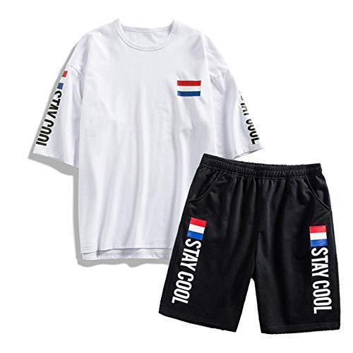 Miwaimao 9XL Übergröße Sportanzüge Herren Casual Sportswear Brief Hi-Street Outdoor Fitness Männer Zwei Sets T-Shirt + Shorts Gr. XXXXX-Large, weiß