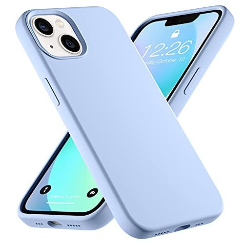 Upeak Liquid Silikon Hülle Kompatibel mit iPhone 13 Hülle 2021, 6.1 Zoll Anti-Schock Handyhülle DREI Schichten Komplette Schutzhülle Cover Bumper für Damen Herren, Hellblau