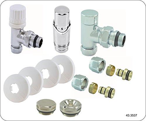 Radiator ventiel complete set incl. thermostaat, hoekig, verwarming aansluitingsset garnituur