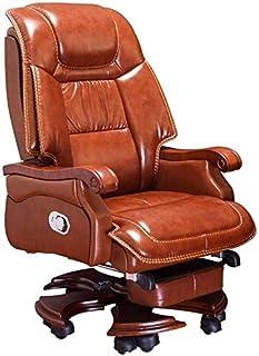 HIZLJJ Ejecutivo giratoria ajustable silla giratoria de oficina con brazos soporte lumbar escritorio de oficina Silla ergonómica de negocios silla reclinable ordenador personal giratoria de cuero Sill