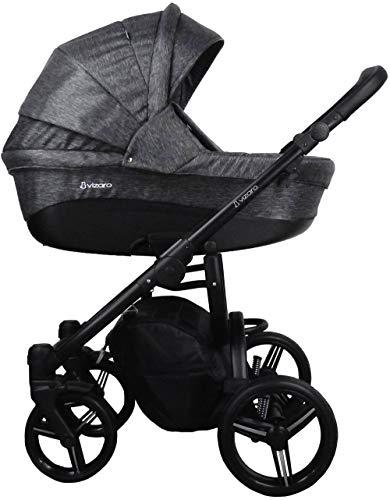 Vizaro PEARL 2021 TRÍO 3 en 1 - Carrito Bebé Todoterreno GAMA ALTA - MARCA ESPAÑOLA - Muy elegante - Garantía 3 Años - Textil ANTRACITA Chasis NEGRO