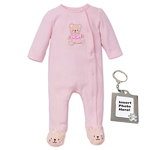 Little Me Sweet Bear Footie Pajamas Footed Sleeper and Keychain Pink Preemie