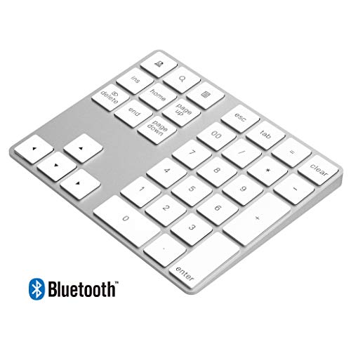 Rytaki Teclado numérico Bluetooth Aluminio para Mac 34 Teclas Externo con múltiples accesos directos para computadora Laptop Windows Surface Pro Apple iMac Macbook iPad Android Tableta Teléfono