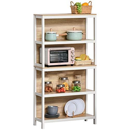 HOMCOM Standregal Bücherregal 4-stufiges Büroregal Lagerregal Aktenregal Küchenregal Spanplatte Eiche+Weiß 45 x 21 x 170 cm