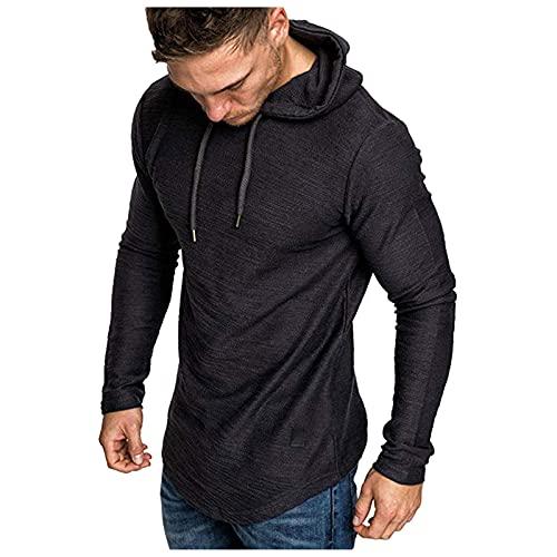 Camiseta de manga larga con capucha para hombre, de verano, de piel mixta, con dobladillo irregular, blusa Negro XXL