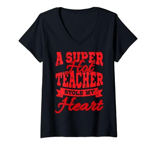 Mujer Una profesora súper sexy me robó el corazón Día de San Camiseta Cuello V