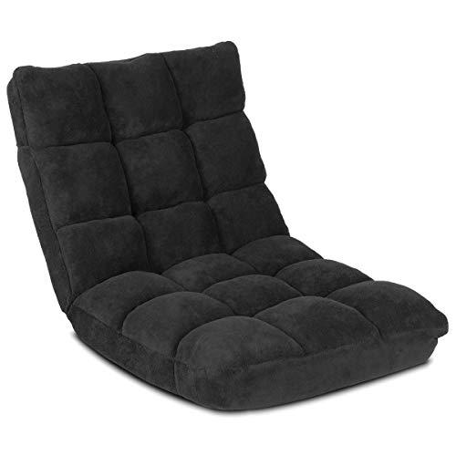 Costway Canapé Paresseux Tatami Pliable Chaise de Plancher Coussin de Chaise de Lit Siège de Sol pour Maison, Bureau 105 x 56 x 15 CM (Noir)