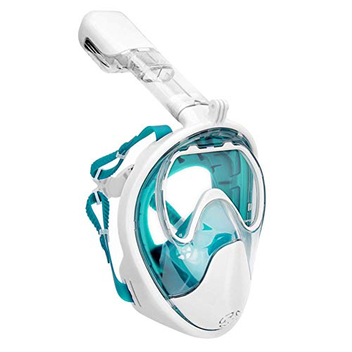 QWERT Easybreath Máscara de Buceo Integral Hombre Mujer Anti-Fugas Anti-Niebla Máscara Snorkel Cara Completa 180° Vista Panorámica Gafas de Bucear Gafas de Natación,Verde,S/M