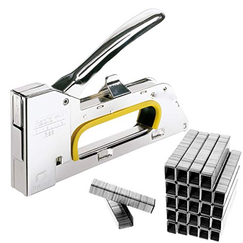 JJOnlineStore Stahl-Heftpistole, für 4-, 6- und 8-mm-Klammern, Tacker, Polster-Hefter, mit 2500 Heftklammern
