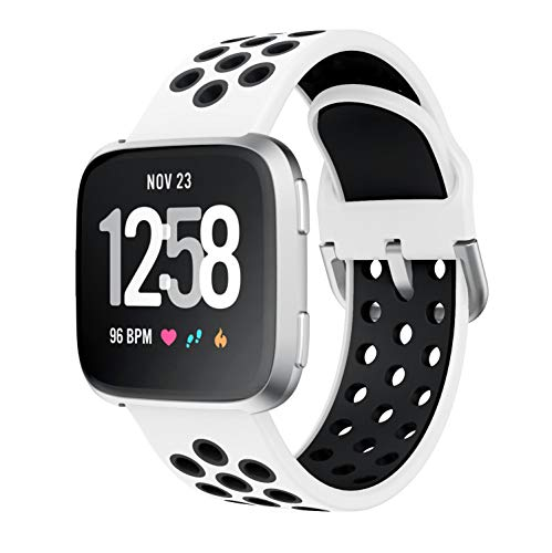 YPSNH Kompatibel für Fitbit Versa 2 Armband Weiches Zweifarbiges Silikon-Ersatz-Sportarmband für Fitbit Versa/Fitbit Versa 2