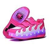 XYDDC Zapatos con Ruedas de Carga USB LED Que Brillan intensamente, Zapatillas Luminosas con Ruedas, Zapatos de patín con Ruedas para niños y niñas