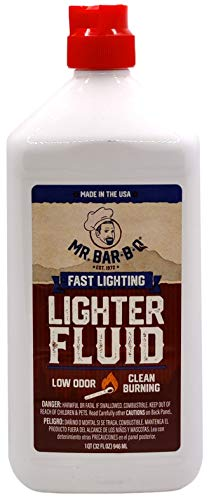 Mr. Bar-B-Q Fast Lighting Lighter Fluid | Low-Odor | Clean Burning | Petroleum Free Charcoal Lighter Fluid | Perfect for Starting Charcoal and Wood Fires | Safety Cap | 1 Quart Bottle