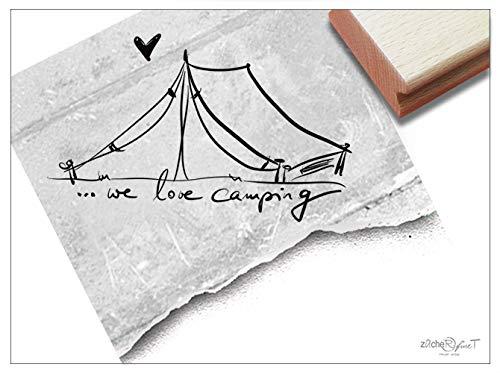 Stempel Textstempel .we Love Camping mit Zelt - Schriftstempel Grüße Urlaub Karten Scrapbook Fotobuch Geschenk Gutschein Basteln Deko- zAcheR-fineT