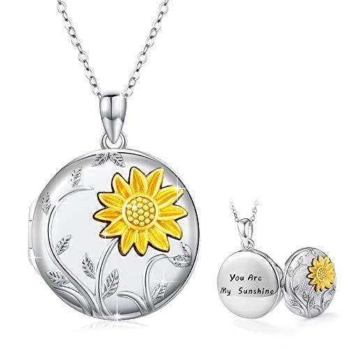 """Halskette mit Sonnenblumen Medaillon Foto Kette """"You Are My Sunshine""""mit Gravur für Damen und Mädchen (Halskette mit Sonnenblumen Medaillon)"""