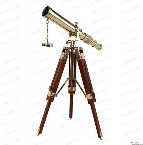 Vintage Brass Telescope on Tripod Stand use DF Lens Antique Desktop Telescope for Home Decor product image