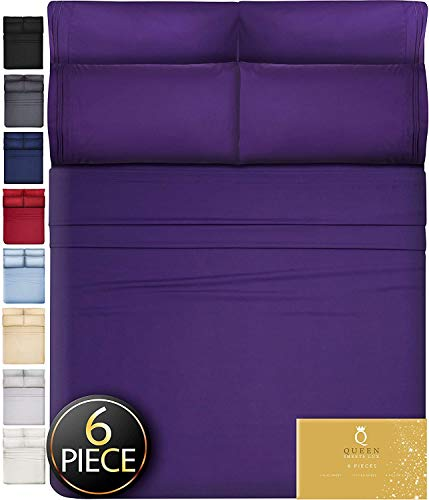 DreamCare 6 Piece Deep Pocket Sheets Microfiber Sheets Bed Sheets Bedding Sets King Size, Purple