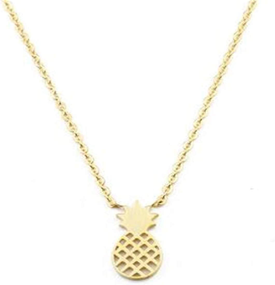 DSDDAWE23 Stainless Steel Pineapple Necklace Pendant Gold Collares Dainty Fruit Charm Necklace Beach Jewellery
