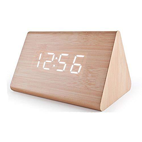 Dongbin Digital-Wecker Alarm Elektronik in Holz Zimmer von Creative Nachttischuhr,Beige