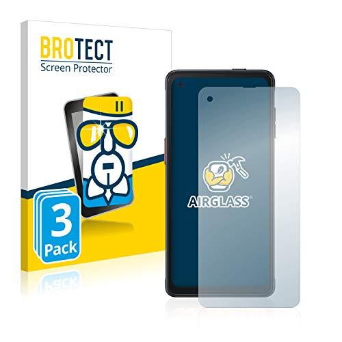 BROTECT Panzerglas Schutzfolie kompatibel mit Samsung Galaxy XCover Pro (3 Stück) - AirGlass, extrem Kratzfest, Anti-Fingerprint, Ultra-transparent