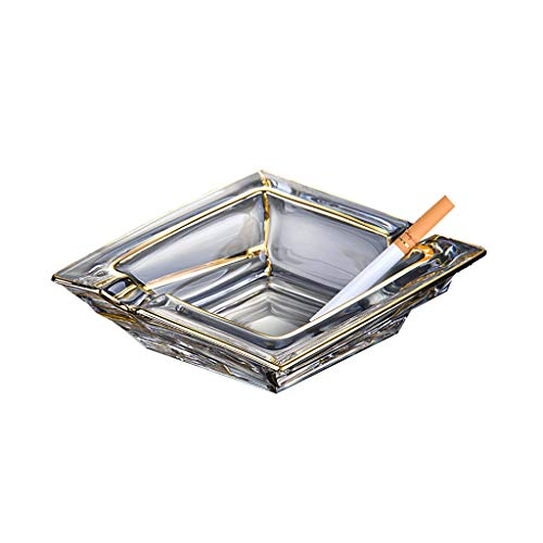 Cenicero de cristal Hogar Salón Europeo Cenicero Simple Moda Prismático Transparente Oro Personalidad Regalo WHLONG