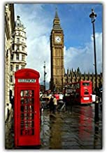 Red Phone Booth On The Street of London 70 Pieces of Wooden Puzzle DIY Children's Adult Jigsaw Puzzle Game Entertainment Artist Residence Gift