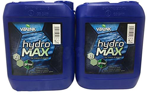Fertilizante Estimulador VitaLink HydroMax Grow SW A+B Abono Crecimiento para Cultivos de Cannabis y Marihuana - Mejora su Crecimiento y Floración. Aditivo. Producto CE. 5Litros